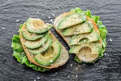 Avocado sandvishes. Top view. royalty free stock photography
