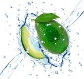 Avocado splash. Isolated on white stock photos