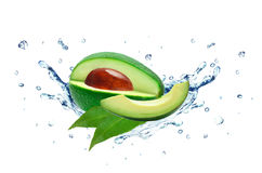 Avocado splash and water. Isolated on white stock photography