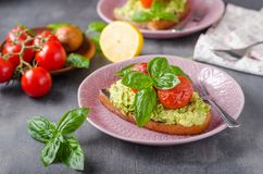 Avocado spread bread with baked tomato Stock Images