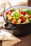 Avocado strawberry salsa with tortilla chips Stock Image