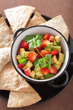 Avocado strawberry salsa with tortilla chips Stock Photography