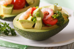 Avocado Stuffed With Shrimp Salad Macro On A Plate. Horizontal Stock Images