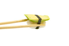 Avocado sushi nigiri isolated on white background Stock Photos