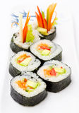 Avocado sushi rolls Stock Images
