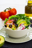 Avocado and sweetcorn salad Stock Image