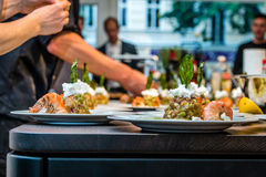 Avocado tartar, shrimp, basil, cream cheese Royalty Free Stock Photo