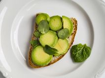 Avocado toast. In a plate stock photography