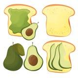Avocado toast - vector set. Fresh toasted bread with avocado. Delicious sandwich stock illustration