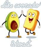 Avocado and Toast Funny Vector Characters Royalty Free Stock Photos