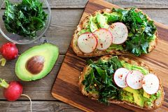 Avocado toast with kale and radish over rustic wood. Avocado toast with kale and radish on whole grain bread, overhead scene on rustic wood Stock Photography