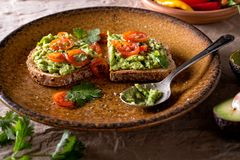 Avocado Toast with Sliced Tomato and Cilantro. A slice of delicious avocado toast with sliced tomato and cilantro stock image