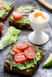 Avocado toast with sprouts and tomato and boiled egg. Healthy green veggie sandwich Royalty Free Stock Photos