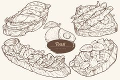 Avocado toasts with different toppings royalty free illustration