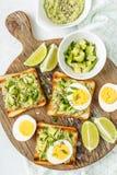 Avocado toasts, healthy snack stock photo