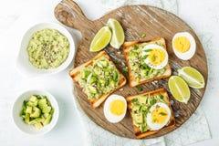 Avocado toasts, healthy snack stock photography