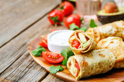 Avocado tomato egg roll with cilantro sour dip Royalty Free Stock Image