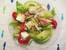 Avocado Tomato Feta Cheese Green Salad Stock Photos