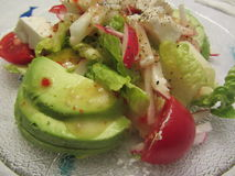 Avocado Tomato Feta Cheese Green Salad Royalty Free Stock Images