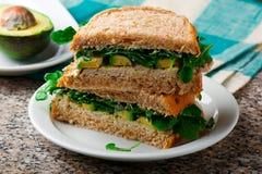 Avocado ,turkey, arugula sandwich with aioli Stock Photo