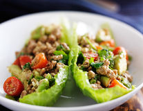 Avocado turkey lettuce wraps Stock Images
