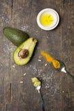 Avocado turmeric i oleju składniki Zdjęcie Royalty Free