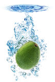 Avocado in water. A splash created by an Avocado fruit dropped in water, isolated on a white background royalty free stock photo