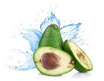 Avocado with water splash Stock Image