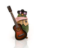 Avocado - Western with Guitar. A California avocado in western attire with sunglasses and hat and an acoustic guitar on white background Royalty Free Stock Photo