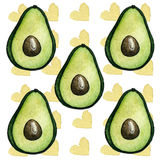AVOCADO. White background with hearts and avocado seamless Stock Images