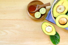 Avocado  on a wood background. Royalty Free Stock Photos