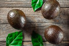Avocado on a wooden background Royalty Free Stock Image