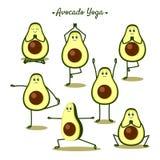 Avocado yoga. Funny  illustration with yoga poses and fruits. White background Stock Image
