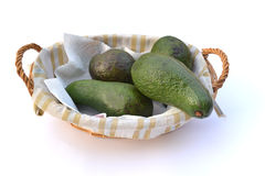 Avocadoes in a basket Royalty Free Stock Image