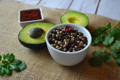 Avocadoes and Spices stock photo