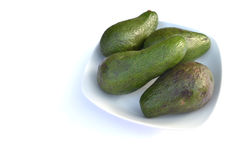 Avocadoes in white bowl Stock Photo