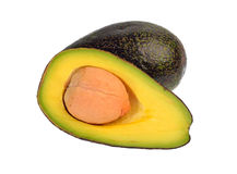 Avocadofruit op een witte achtergrond wordt geïsoleerd die Royalty-vrije Stock Foto's