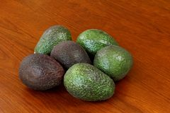 Avocados. Six avocados on a wood table.  Some are ripe and some are not Stock Photography