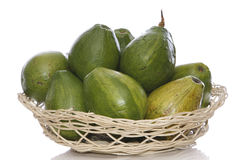 Avocados in a basket Royalty Free Stock Photography