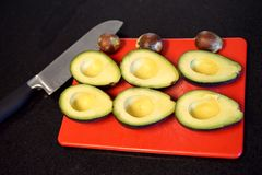 Ripe avocados ready in a row royalty free stock images