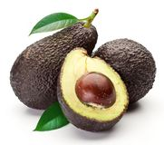 Avocados with leaves Stock Photography