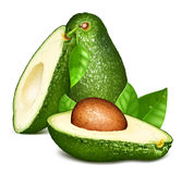 Avocados with leaves Royalty Free Stock Images
