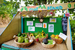 Avocados, lemons, bananas and other fruits for sale at a self service roadside stand on the Big Island of Hawaii Stock Image