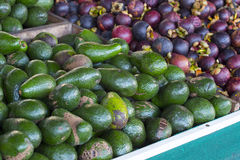 Avocados and Mangosteens Royalty Free Stock Images
