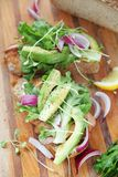 Avocados and onions with smoked salmon sandwich royalty free stock images