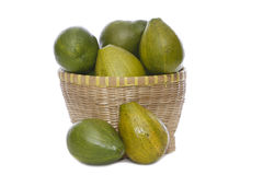 Avocados in and out basket Royalty Free Stock Photo