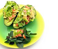 Avocados with salad Royalty Free Stock Images