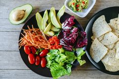 Avocadosalade en plaat van nachos met eigengemaakte guaca Royalty-vrije Stock Foto