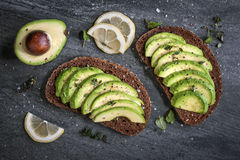 Avocadosandwich Royalty-vrije Stock Foto