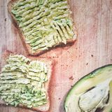 Avocadosandwich Stockbild